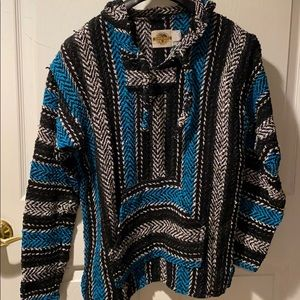 Earth Ragz Baja Hoodie M striped pullover sweater